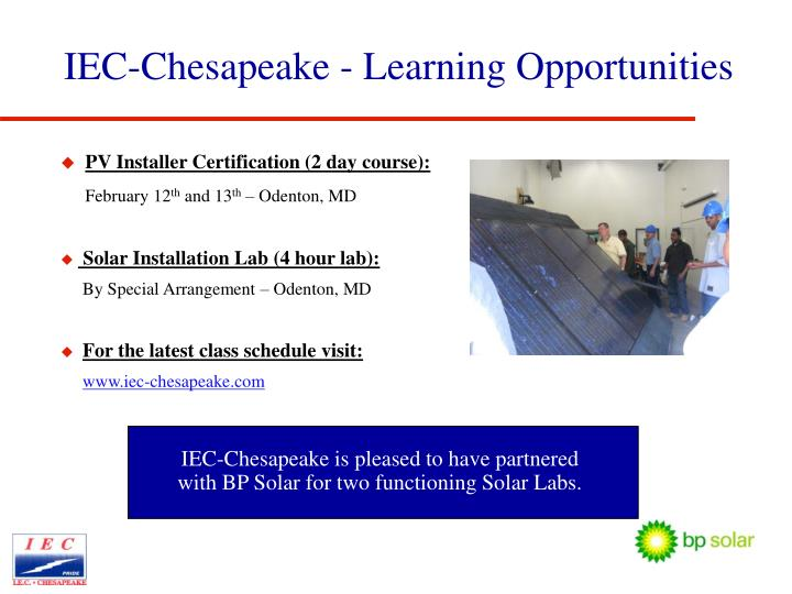 IEC-Chesapeake - Learning Opportunities