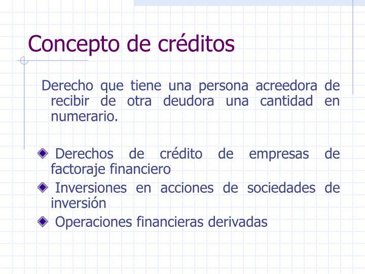 Concepto de créditos