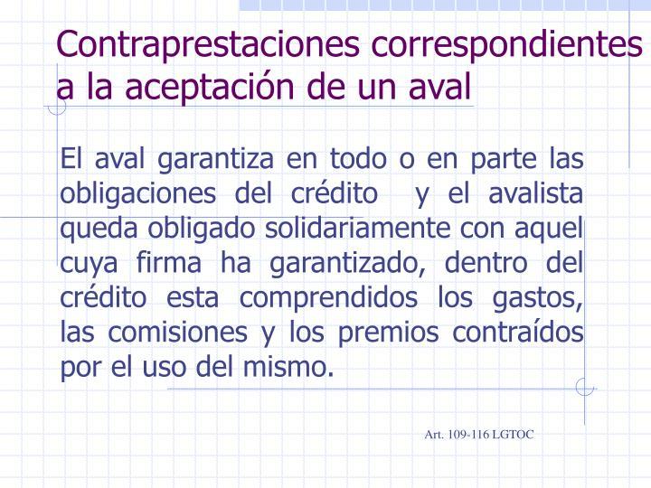 Contraprestaciones correspondientes a la aceptación de un aval