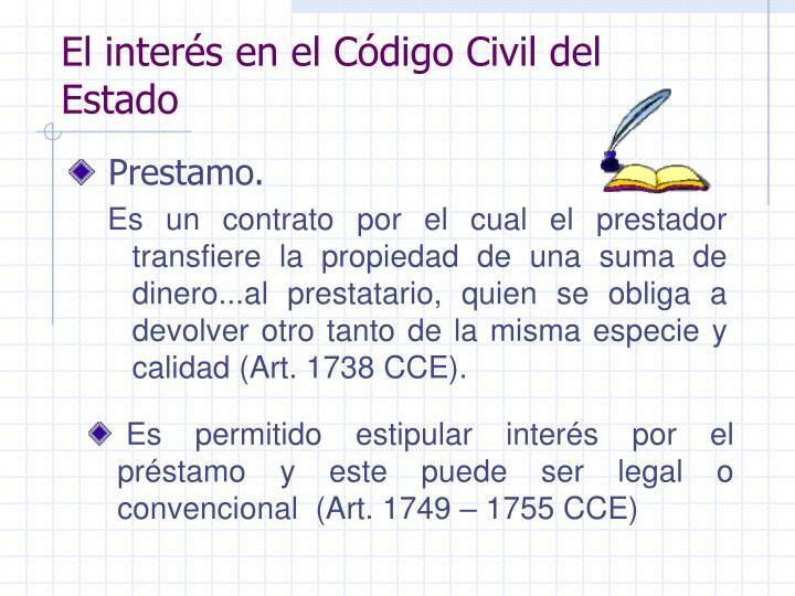 El interés en el Código Civil del Estado