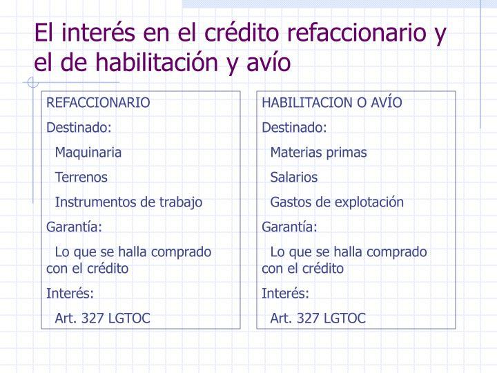 El interés en el crédito refaccionario y el de habilitación y avío