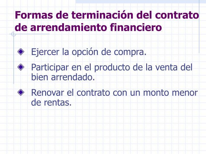 Formas de terminación del contrato de arrendamiento financiero