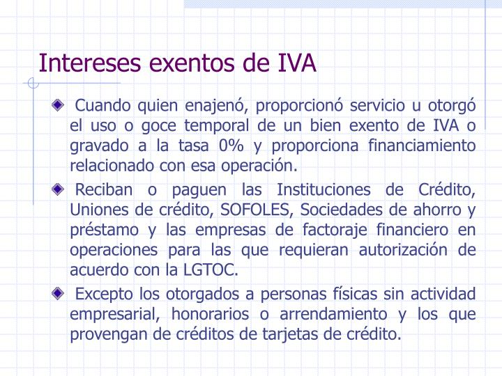 Intereses exentos de IVA