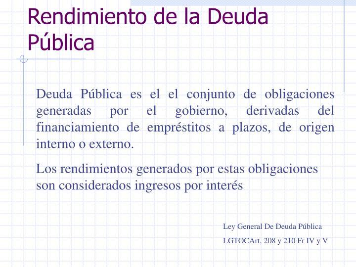 Rendimiento de la Deuda Pública