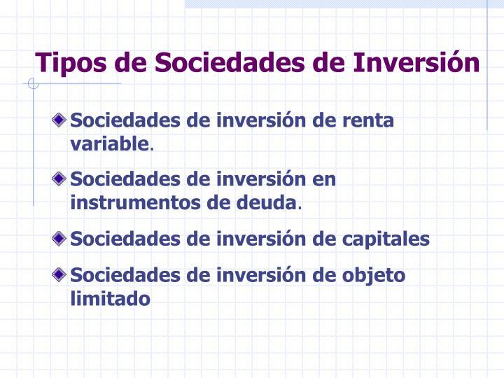 Tipos de Sociedades de Inversión