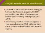 analysis will the awb be reauthorized
