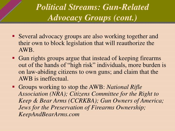 Political Streams: Gun-Related Advocacy Groups (cont.)