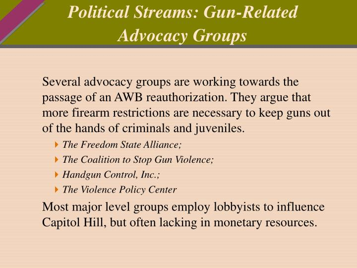 Political Streams: Gun-Related Advocacy Groups