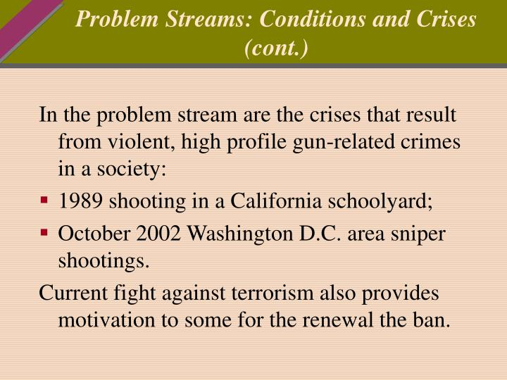 Problem Streams: Conditions and Crises (cont.)