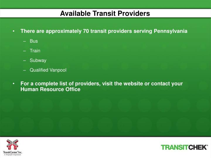 Available Transit Providers