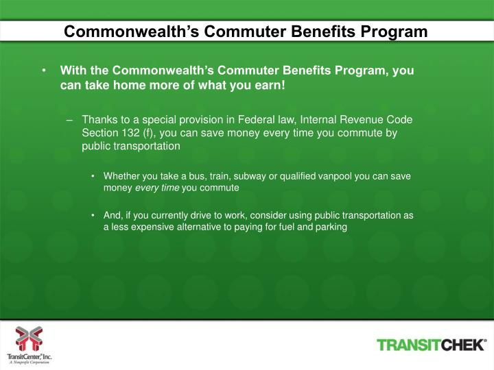 Commonwealth's Commuter Benefits Program
