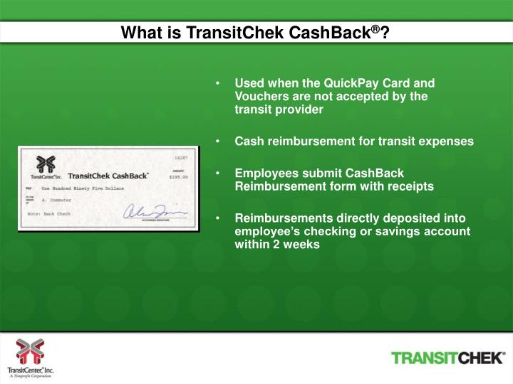 What is TransitChek CashBack
