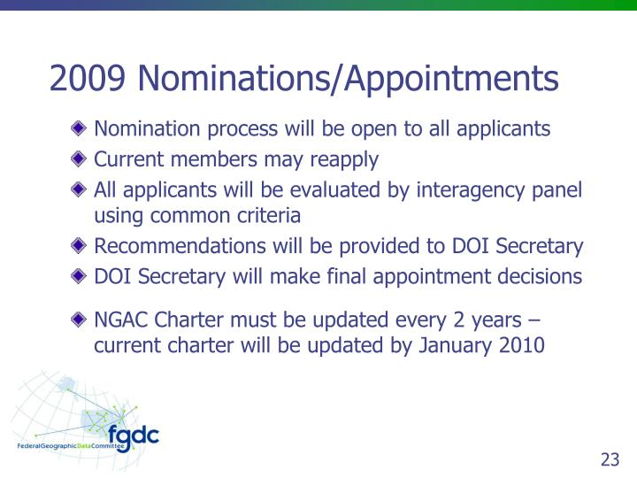 2009 Nominations/Appointments