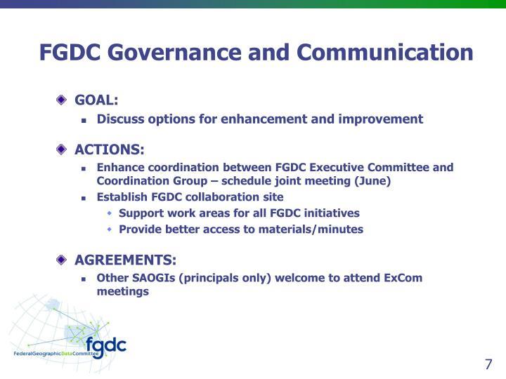 FGDC Governance and Communication