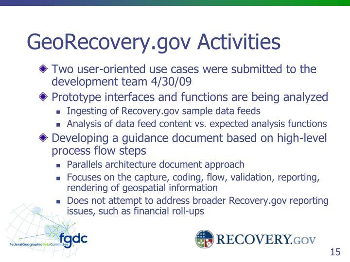 GeoRecovery.gov Activities