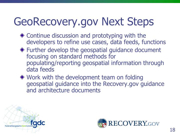 GeoRecovery.gov Next Steps