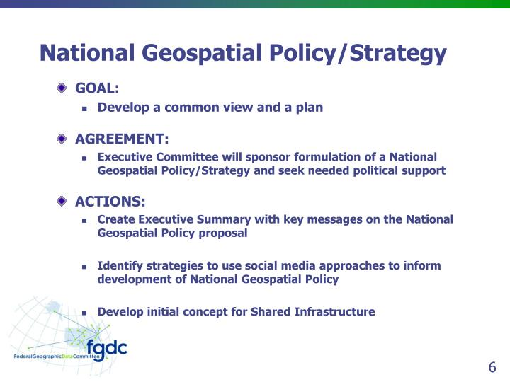 National Geospatial Policy/Strategy