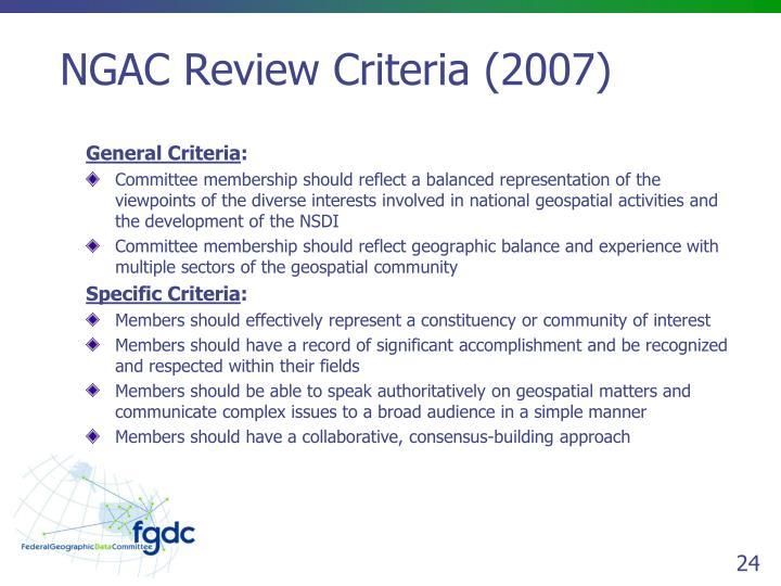 NGAC Review Criteria (2007)