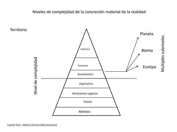 Niveles de complejidad de la concreción material de la realidad