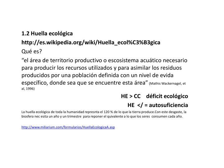 1.2 Huella ecológica