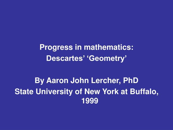 Progress in mathematics: