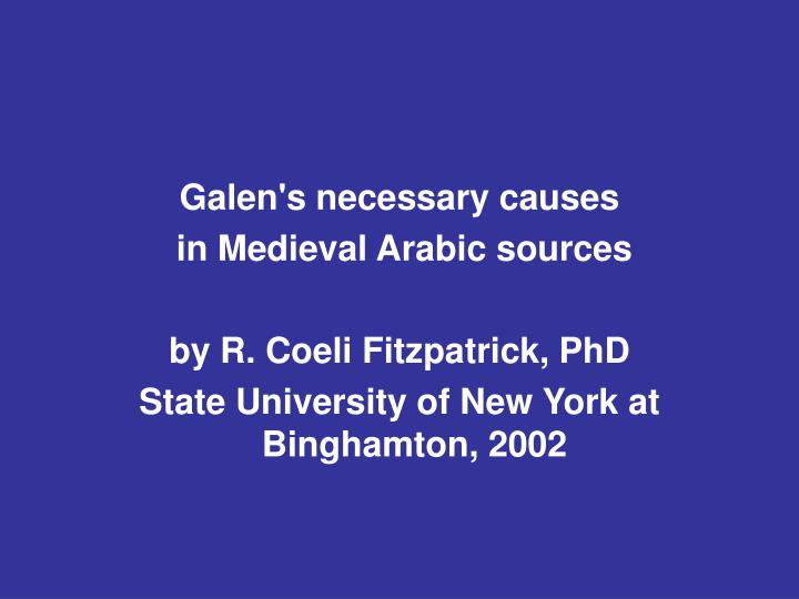 Galen's necessary causes
