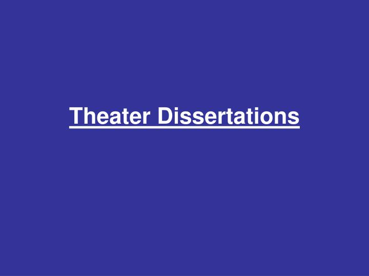 Theater Dissertations