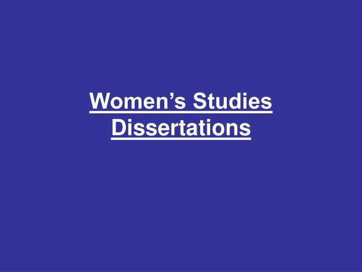 Women's Studies Dissertations