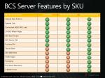 bcs server features by sku