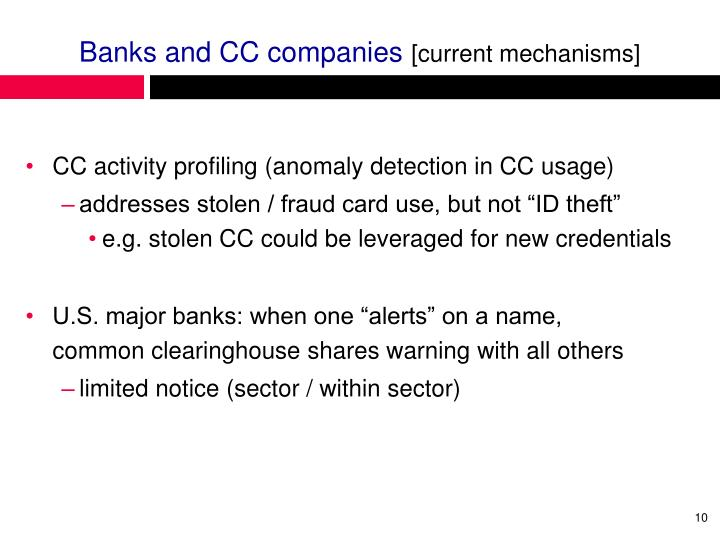 Banks and CC companies