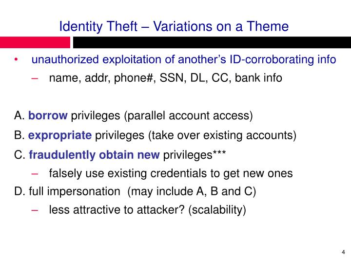 Identity Theft – Variations on a Theme