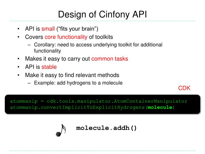 Design of Cinfony API