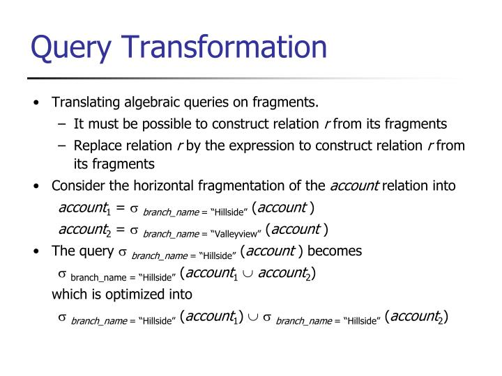 Translating algebraic queries on fragments.