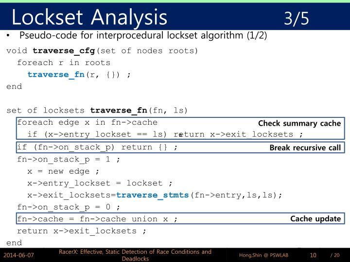 Lockset Analysis