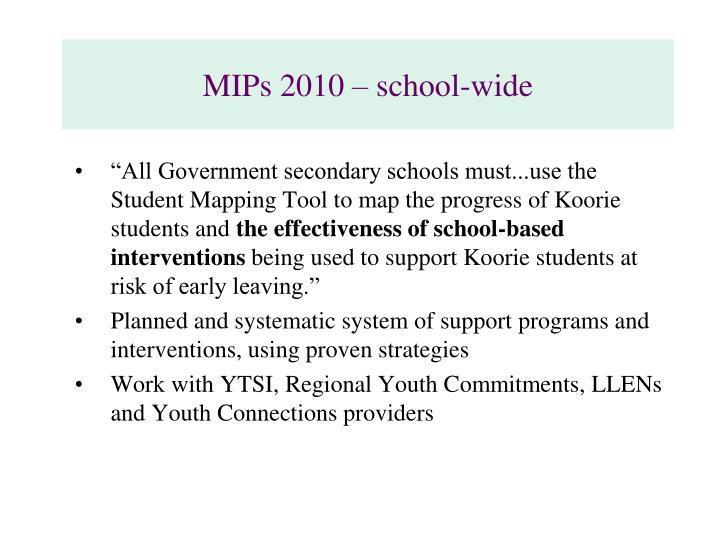 MIPs 2010 – school-wide