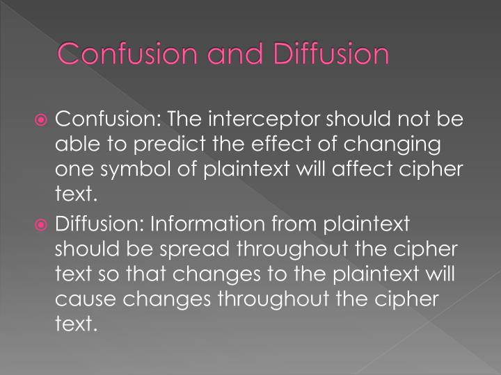 Confusion and Diffusion