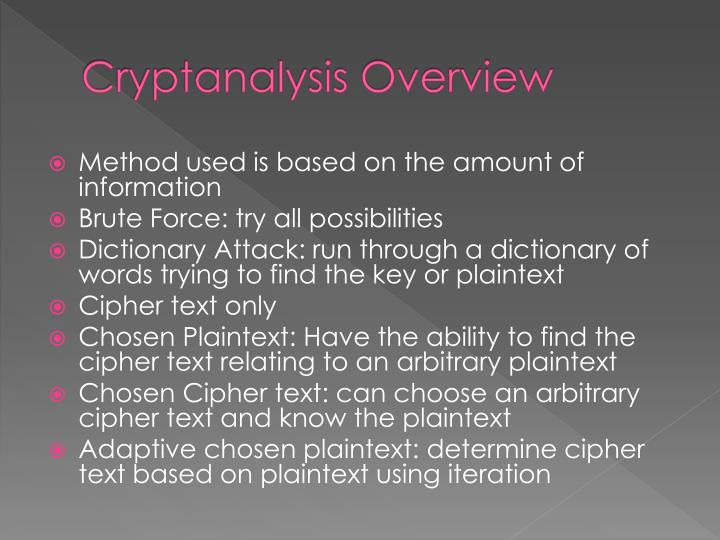 Cryptanalysis Overview