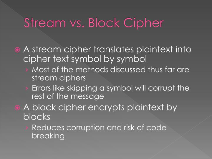 Stream vs. Block Cipher