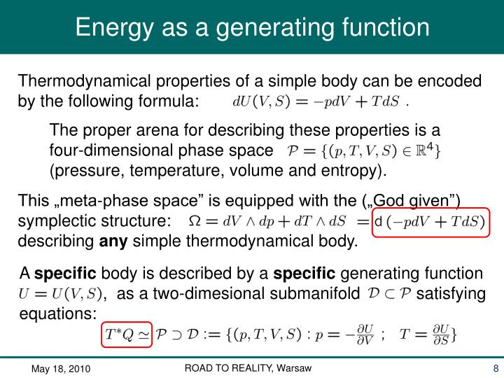Thermodynamical properties of a simple body can be encoded