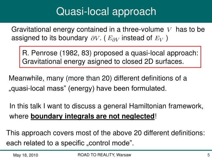 Gravitational energy contained in a three-volume      has to be