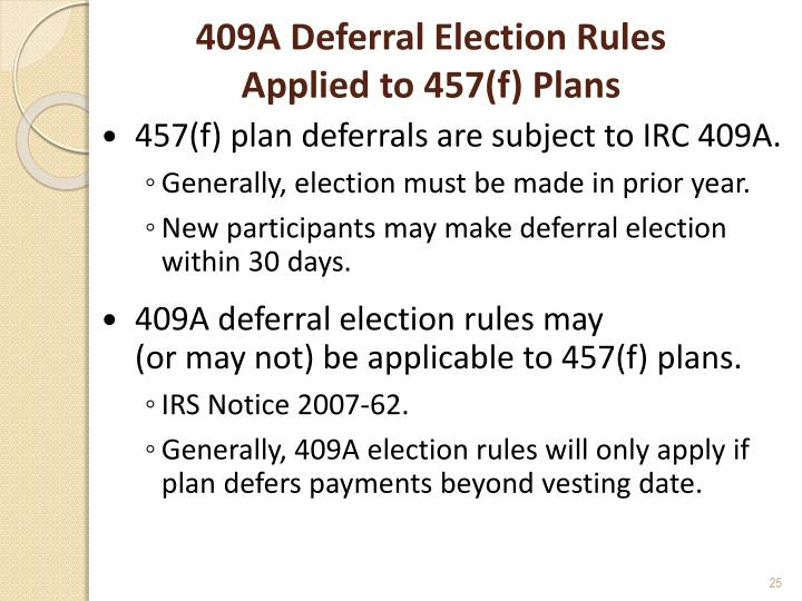 409A Deferral Election Rules