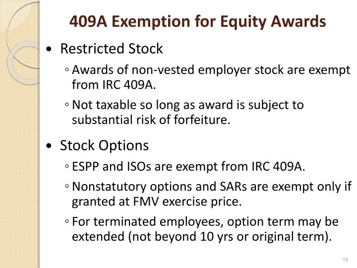 409A Exemption for Equity Awards