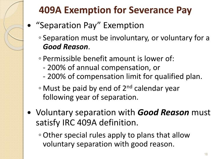 409A Exemption for Severance Pay