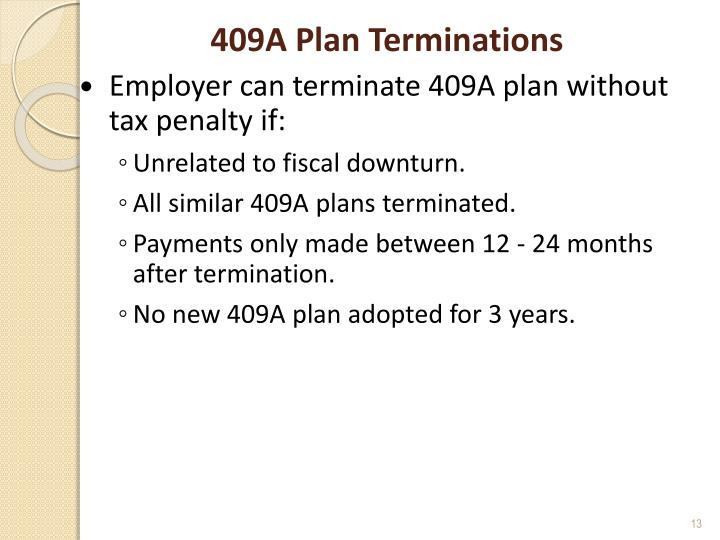 409A Plan Terminations
