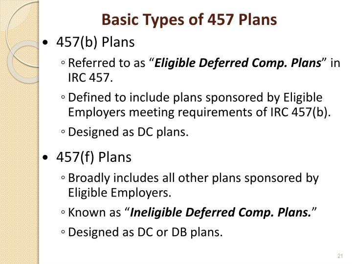 Basic Types of 457 Plans