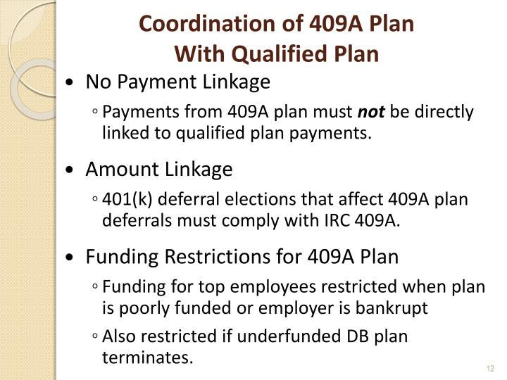 Coordination of 409A Plan