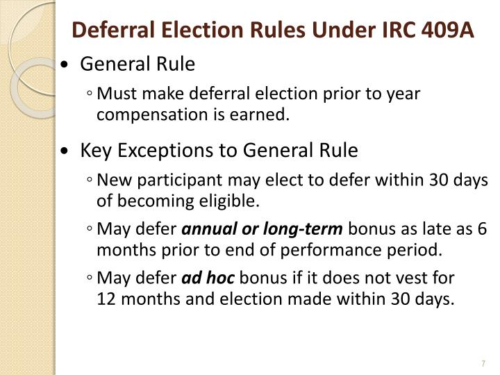 Deferral Election Rules Under IRC 409A