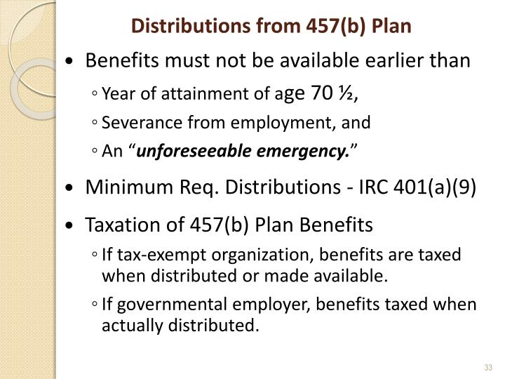 Distributions from 457(b) Plan