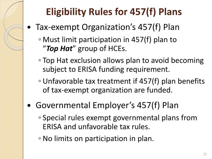 Eligibility Rules for 457(f) Plans