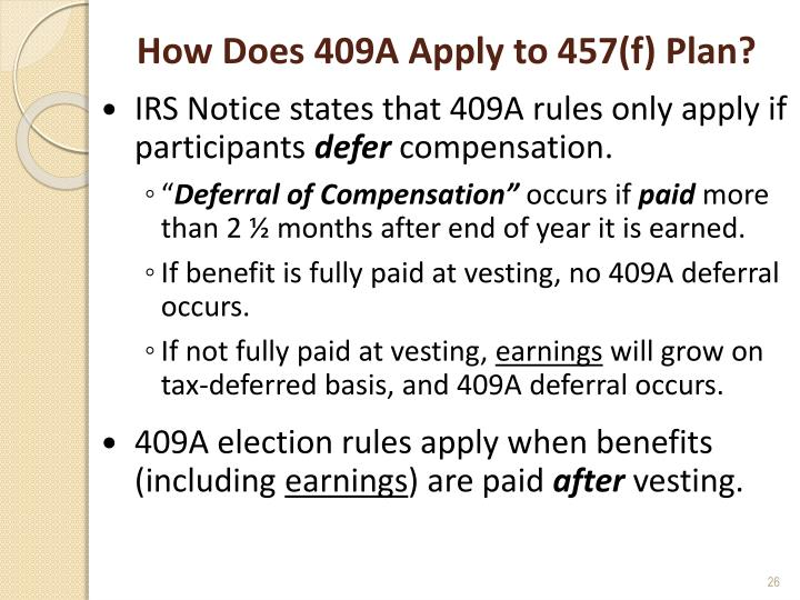 How Does 409A Apply to 457(f) Plan?